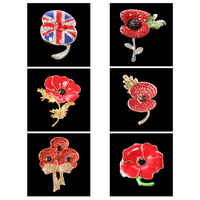 mixed styles Crystal Poppy Brooch Cheap Beautiful Sparkle Red Crystal Rhinestone Poppy Brooch UK flag British flag Brooch
