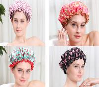 2015 Promotion more color and design children shower Cap cute show satin hair wash cap