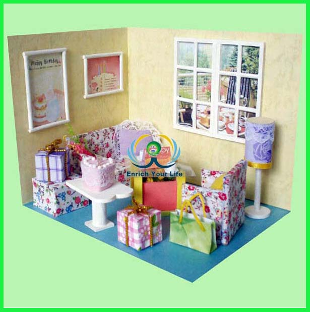 Assembling DIY Miniature Model Kit Wooden Doll House, Unique Big Size House Toy With Furnitures For Kids Lover