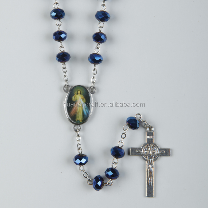 Europen style glass rosary catholic latest design beads necklace