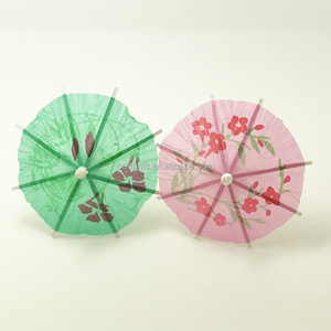 "Pretty 4"" Long Umbrella Wooden Party Picks"
