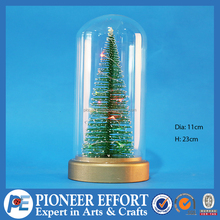Christmas glass cloche nat base tree LED decoration