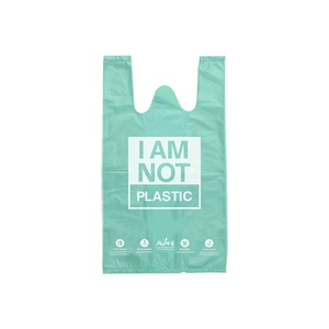 Bio cassava bag custom biodegradable cornstarch usable t shirt grocery shopping plastic bags with logo