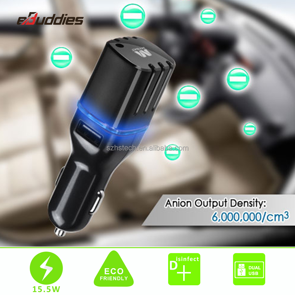Ozone negative ion Anion car air purifier with Dual USB port for car