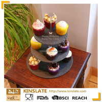 rustic slate cake stand, perfect display for small cakes, pastries and desserts