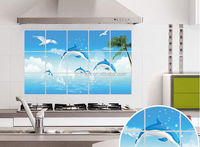 Blue dolphin&seabird paint oil proof aluminum foil kitchen wall decal sticker home decor