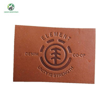 China supplier embossed genuine rubber leather tag labels for jeans clothing