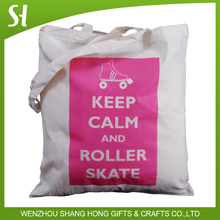 natural cotton tote shopping shoulder bag with keep calm and roller skate print