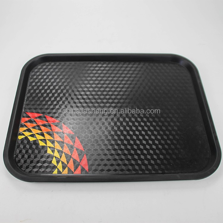 Food grade flat ABS vegetable money extra large shallow plastic long candy fast food square tray