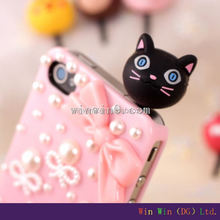 Custom OEM animal cute design silicone rubber 3.5 jack earphone anti-dust plug for iphone
