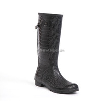 2016 Popular Ladies Rubber Shoes Black Lichee Grain Surface Black Boots,Cotton Lining & High Knee For Sexy Women