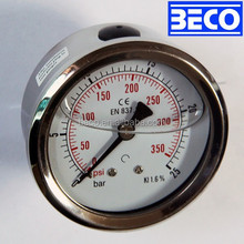 oil filled pressure gauge used in engine or other vibrate measurement