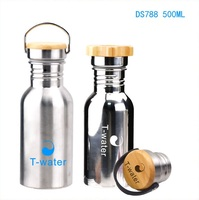 DS788 500ML/17OZ Wholesale single wall 18/8 stainless steel brushed or mirror surface sports water bottle