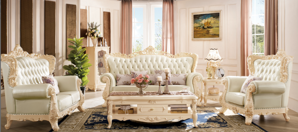 solid wood frame and fabric sofa or genuine leather sofa 1+2+3 set living room sofa set design