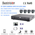 Good quality 4*1080P nvr outdoor digital camera 3.6mm lens 720p 24pcs IR leds 20m cctv ip camera kit