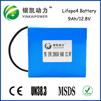 OEM 3S4P 18650 Battery Pack 12.8V9Ah Lifepo4 Battery Pack