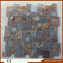 Nature black Slate net paste indoor outdoor stone tile pavers stone on net floor tile