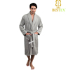 100% polyester Coral fleece Thick Grey Bathrobe Mens dressing gown