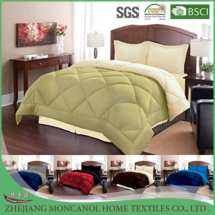 3 Piece Reversible Polyester Microfiber Goose Down Alternative Comforter Set with pillow Shams