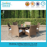 Best Sale Pe Rattan Diy Modern Oval Glass And Chrome Dining Table And Chairs