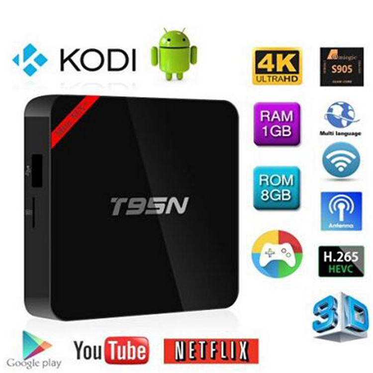 Cheap price Amlogic S905 quad core 1gb ram Android 5.1 T95N smart stream tv box