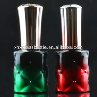 hot sale green and red color painted 12ml crystal Uv soak off gel nail empty glass bottle gel polish bottle with cap brush
