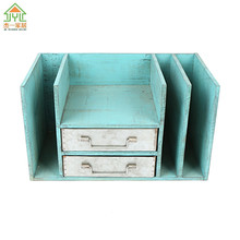 Chinese Rustic Style 3 Slot Pits Desktop Vertical File Holder