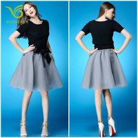 2016 chiffon grey skirt and black blouse suits for fashion women and lady