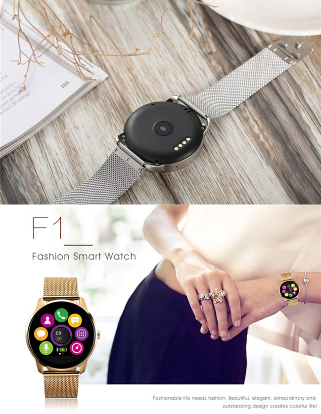 1.22 inch IPS HD Display Metal smart watch with Heart Rate Monitoring F1 Bluetooth Smart Watch for iphone
