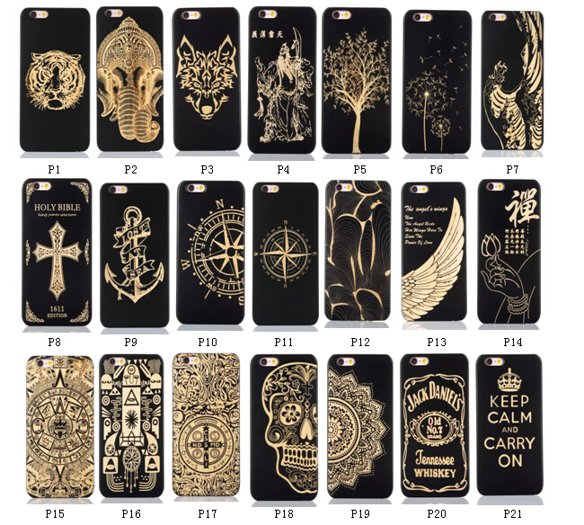 Amazon top selling ! Real Wood Cellphone Cover for iPhone 6 6s Laser Engraved Natural Bamboo Black Ink phone case