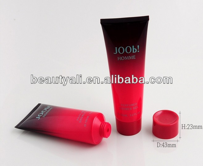 Red plastic PE round cosmetic tube with screw cap