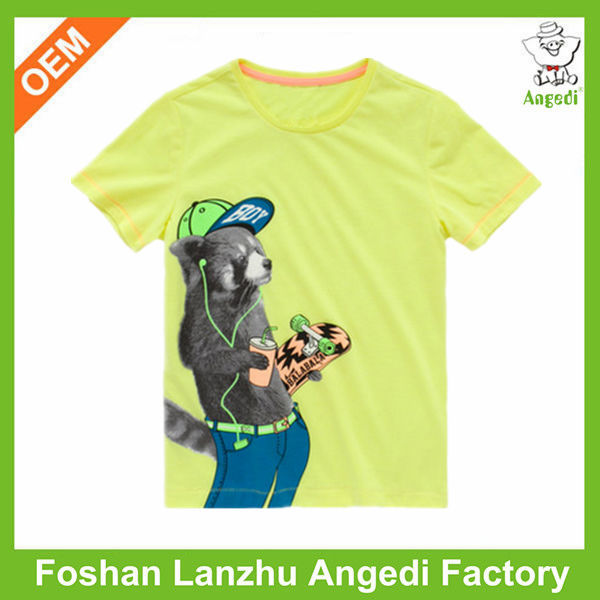 Kids clothing 150gsm teddy bear printed t-shirt specification