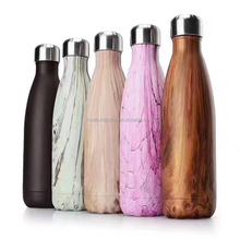 best selling custom 500ml double wall stainless steel wood grain no sweat insulated vacuum travel water bottle for wholesale