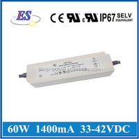 60W 42V 1400mA AC-DC Constant Current /Voltage Dimmable LED Driver with 3 in 1 dimmer