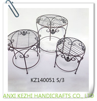 KZ140051 3/S Wrought iron metal round flower plant pot stands