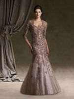 high quality long sleeve lace beaded mother formal party dresses
