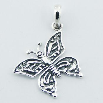 Modern Design Butterfly Pendant Antiqued Hallmarked 925 Silver