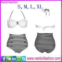 2016 new fashion wholesale White and black hot girls bikini photo