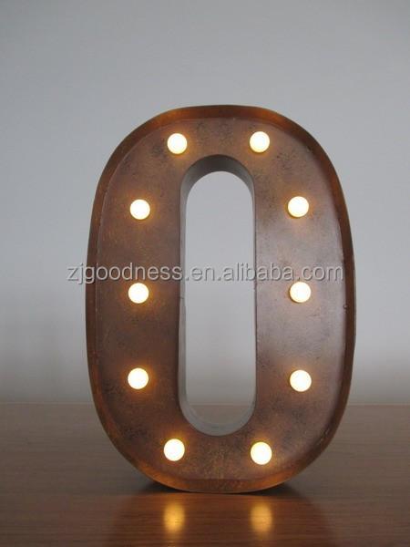 Vintage metalen industri le marquee letters licht brief o 13 3 4 tall elektronische borden - Licht industriele vintage ...