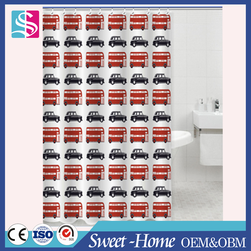 new design custom bathroom polyester stock shower curtain for home and hotel