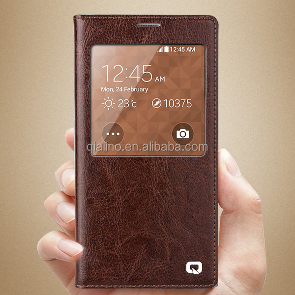 QIALINO Hot Sale leather case cover with smart view window for galaxy samsung S5