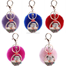 2016 8 Colors 8cm Rabbit Fur Ball Car Keychain New Year Gift Rhinestone Bear Pendant KeyChain Women Gifts Couples Keychain Men