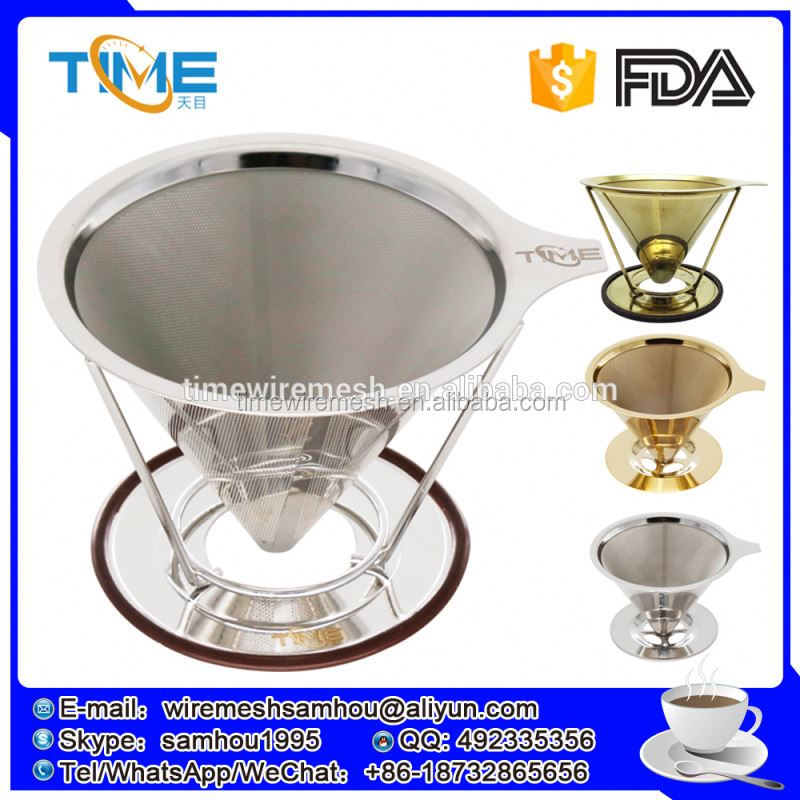 Wholesale coffee dripper stainless steel reusable flavored coffee basket filter