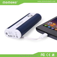 Momoho 5200mah fancy design blue turbo max power bank with built-in cable