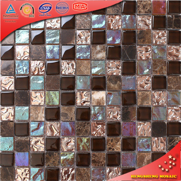 KS10 Modern style rainbow color glass stone electroplating mosaic tiles