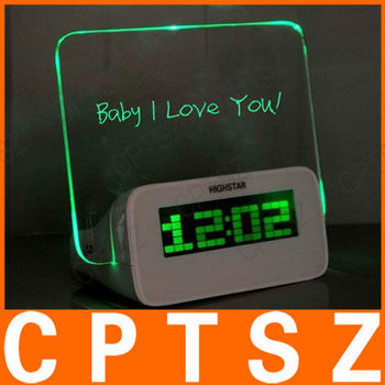 "3.0"" LCD Green Backlight Message Board Digital Alarm Clock - White (3 x AAA)"