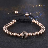 Newest Real Gold Plated Zircon Paved Brass Beads Men Macrame Disco Ball Bracelets