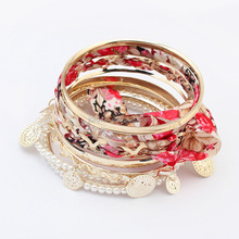 Multi Layer White Pearl Colourful Fabric Pattern Gold Coin Stretch Bracelet