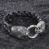 Unique Snake Head Style Stainless Steel Jewelry Wholesaler Men's Leather Charm Bracelet