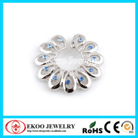 Clip On Flower Fake Nipple Ring with Gems Non Piercing Nipple Ring